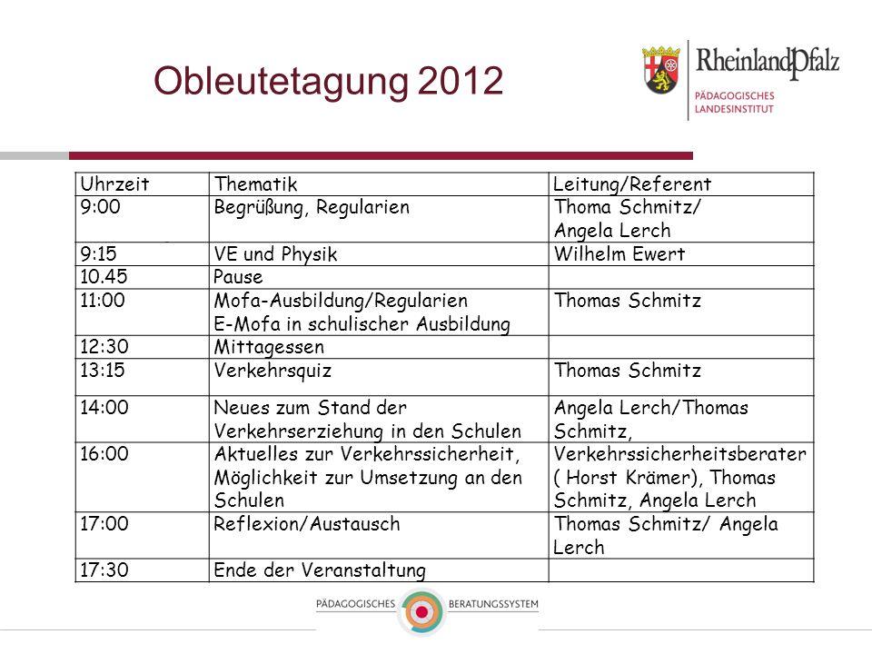 Obleutetagung 2012 Uhrzeit Thematik Leitung/Referent 9:00