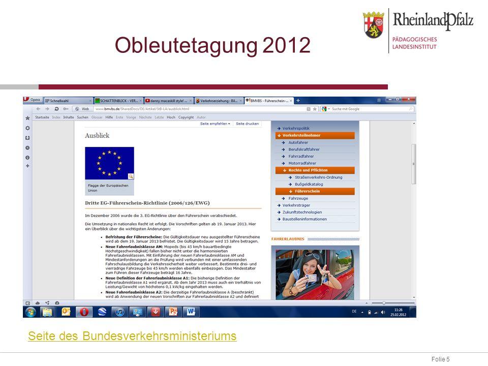 Obleutetagung 2012 Seite des Bundesverkehrsministeriums