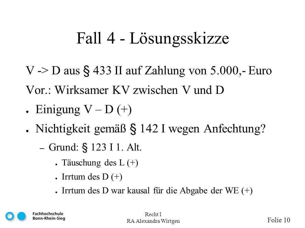 Fall 4 - Lösungsskizze V -> D aus § 433 II auf Zahlung von 5.000,- Euro. Vor.: Wirksamer KV zwischen V und D.