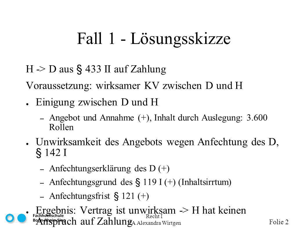 Fall 1 - Lösungsskizze H -> D aus § 433 II auf Zahlung