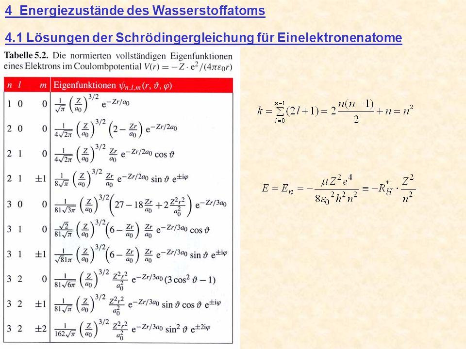 4 Energiezustände des Wasserstoffatoms