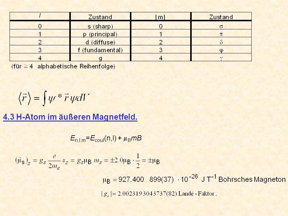4.3 H-Atom im äußeren Magnetfeld.