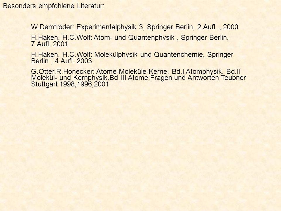 Besonders empfohlene Literatur:
