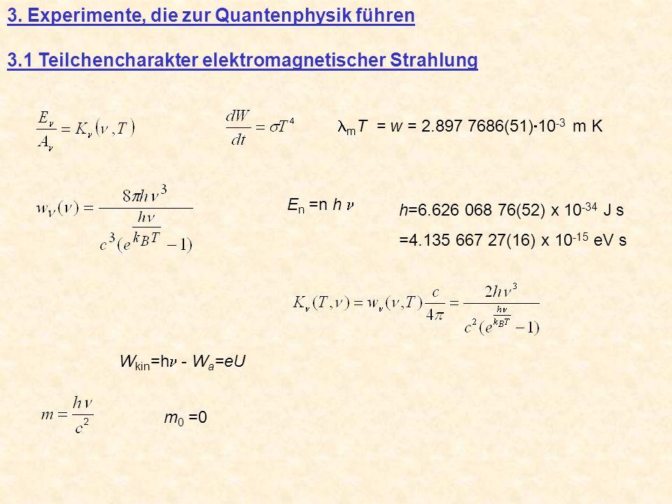3. Experimente, die zur Quantenphysik führen