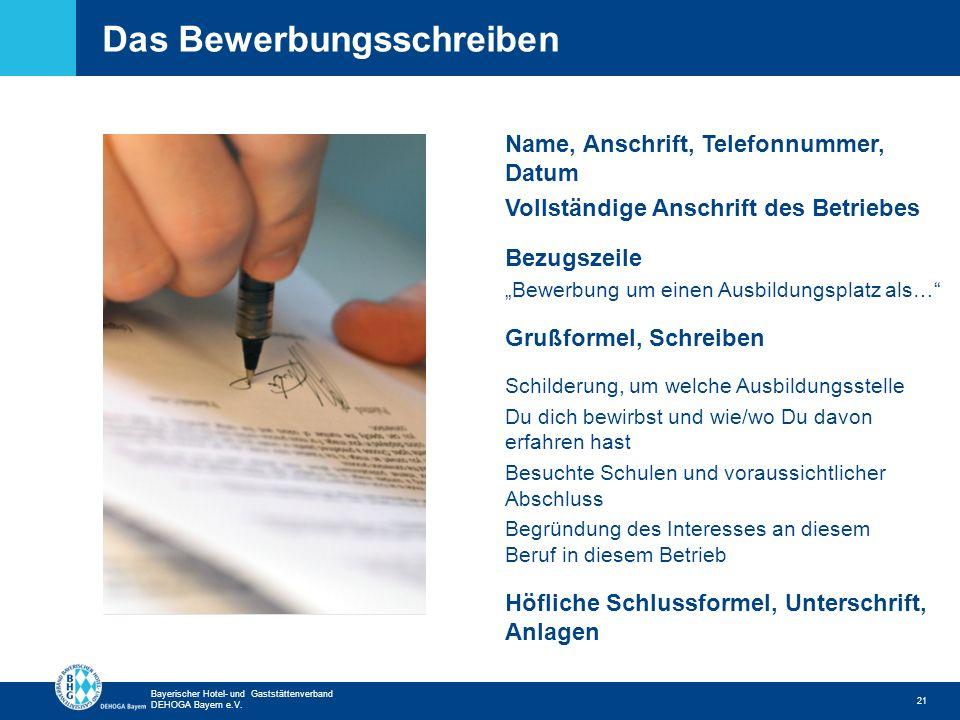 Das Bewerbungsschreiben