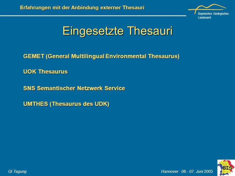 Eingesetzte Thesauri GEMET (General Multilingual Environmental Thesaurus) UOK Thesaurus. SNS Semantischer Netzwerk Service.