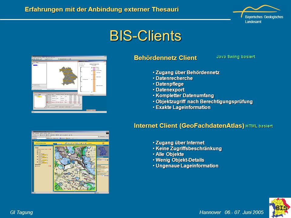 BIS-Clients Behördennetz Client Internet Client (GeoFachdatenAtlas)