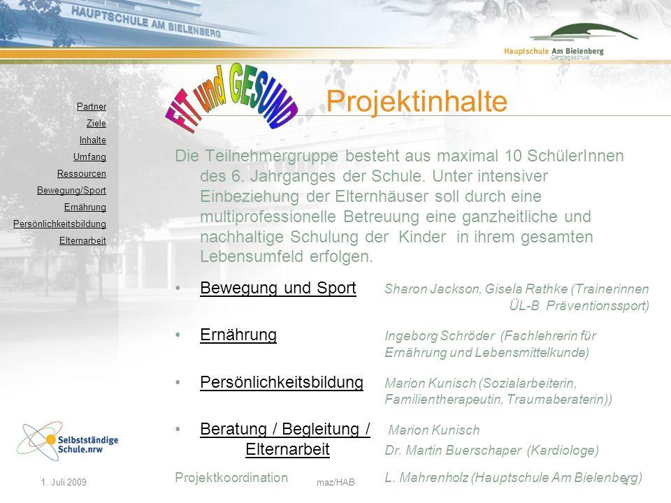 FIT und GESUND Projektinhalte