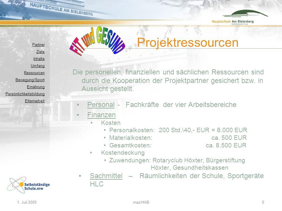 FIT und GESUND Projektressourcen
