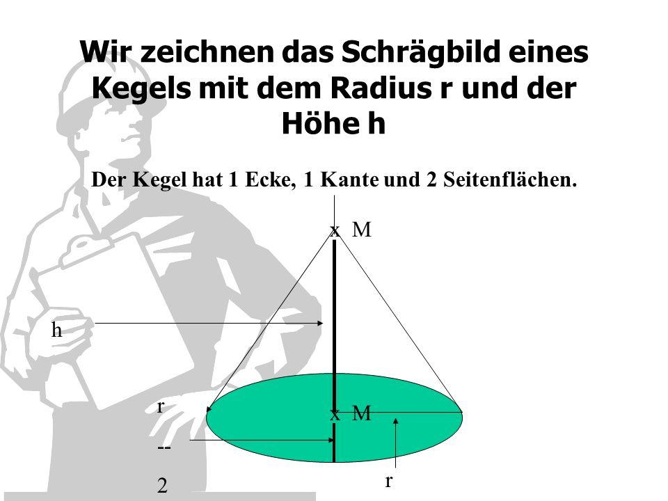 Der Kegel hat 1 Ecke, 1 Kante und 2 Seitenflächen.