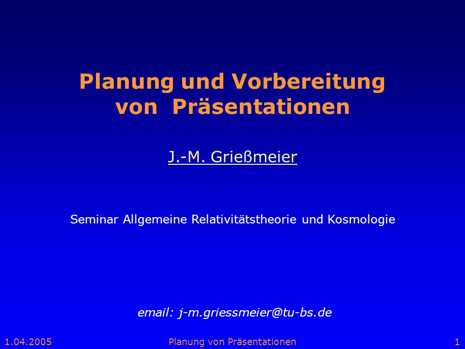 Planung und Vorbereitung von Präsentationen