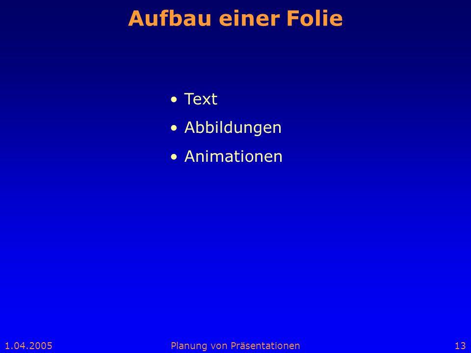 Aufbau einer Folie Text Abbildungen Animationen Vortrag/aufgebaut
