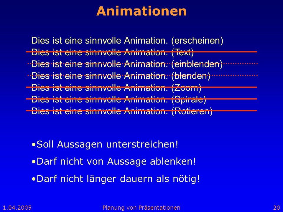 Animationen Dies ist eine sinnvolle Animation. (erscheinen)