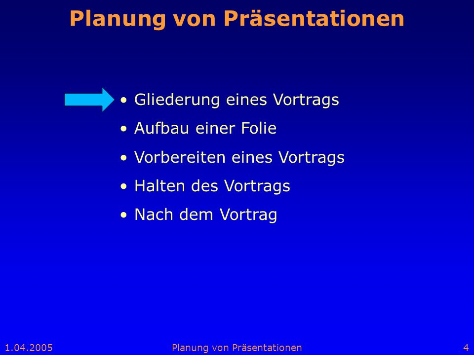 Planung von Präsentationen