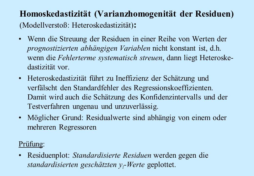 Homoskedastizität (Varianzhomogenität der Residuen) (Modellverstoß: Heteroskedastizität):