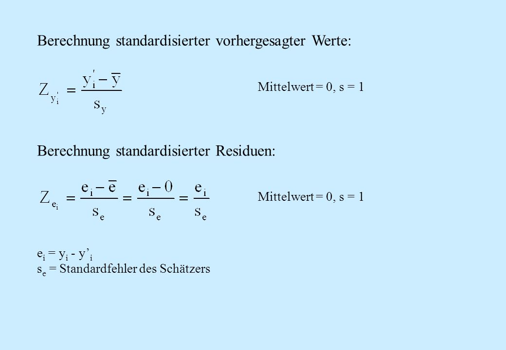 Berechnung standardisierter vorhergesagter Werte: