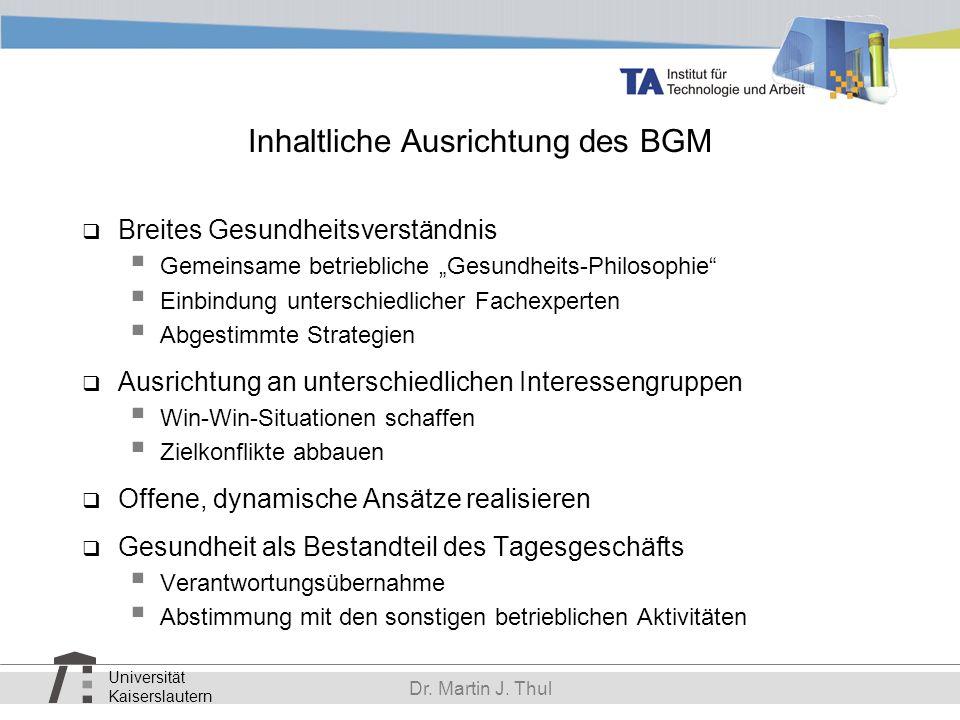 Inhaltliche Ausrichtung des BGM