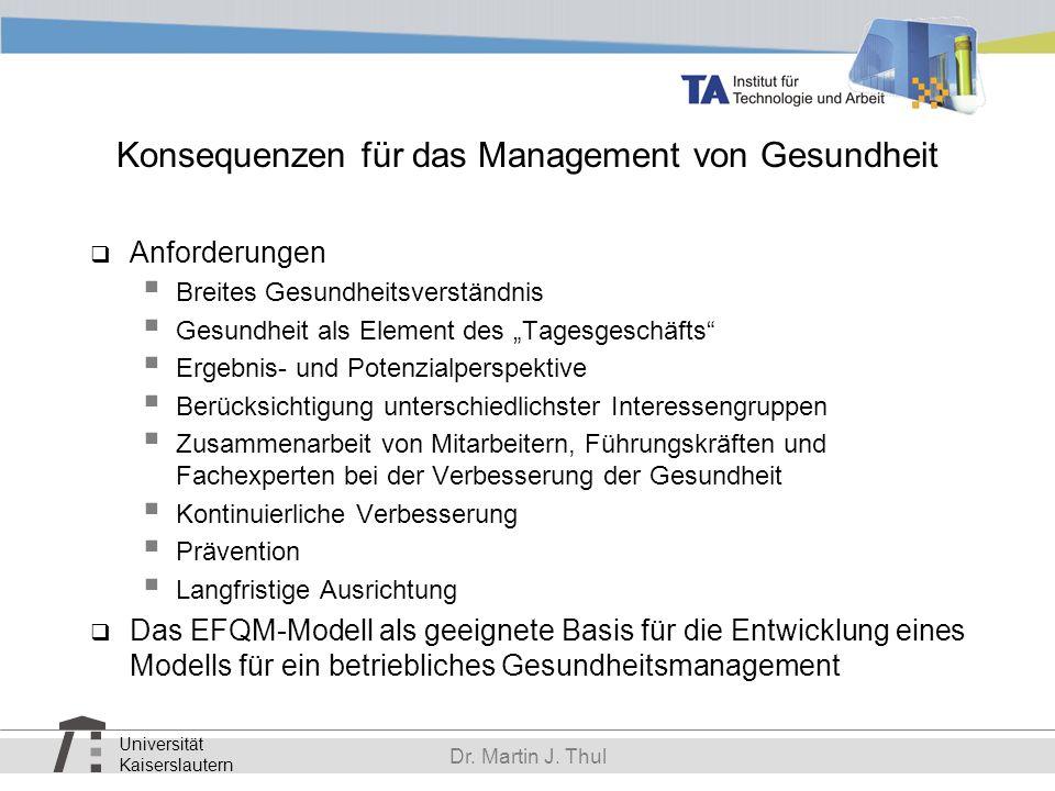 Konsequenzen für das Management von Gesundheit