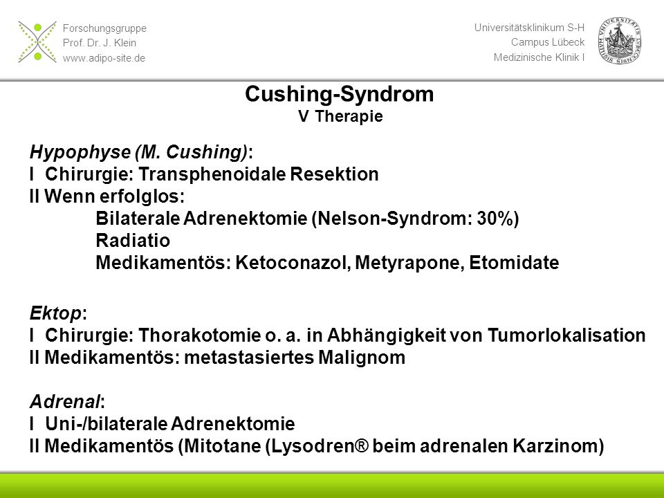 Cushing-Syndrom Hypophyse (M. Cushing):
