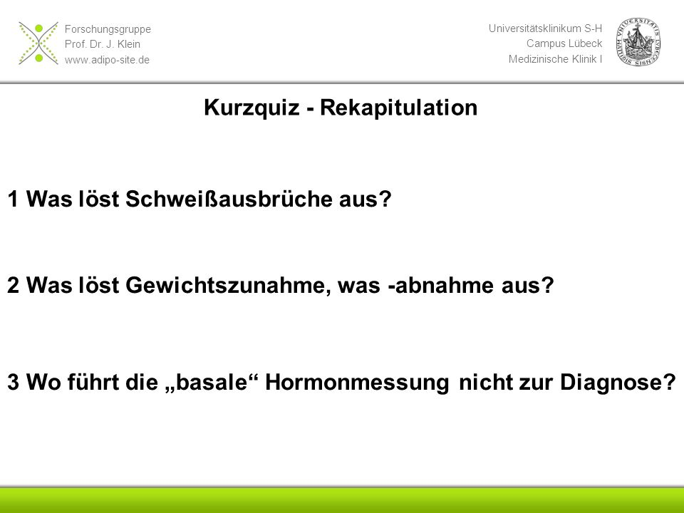 Kurzquiz - Rekapitulation