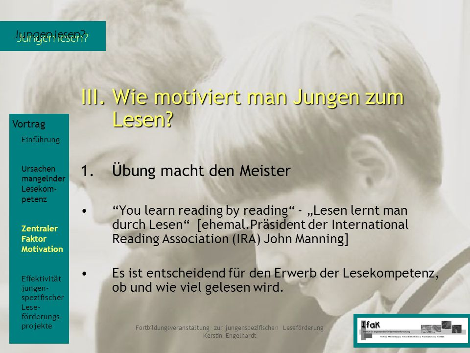 Fortbildungsveranstaltung zur jungenspezifischen Leseförderung
