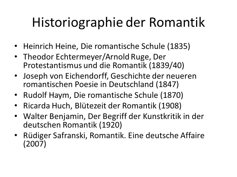 Historiographie der Romantik