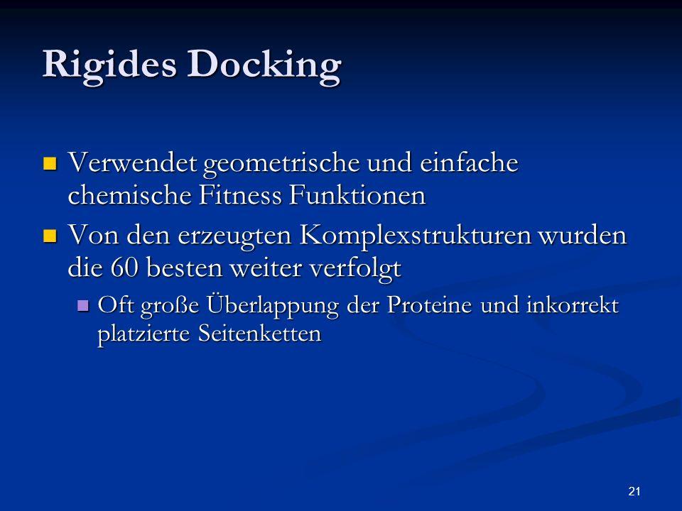 Rigides Docking Verwendet geometrische und einfache chemische Fitness Funktionen.
