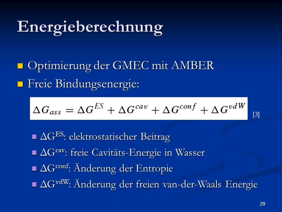 Energieberechnung Optimierung der GMEC mit AMBER