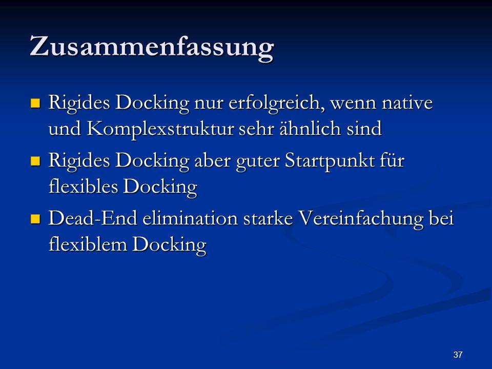 Zusammenfassung Rigides Docking nur erfolgreich, wenn native und Komplexstruktur sehr ähnlich sind.