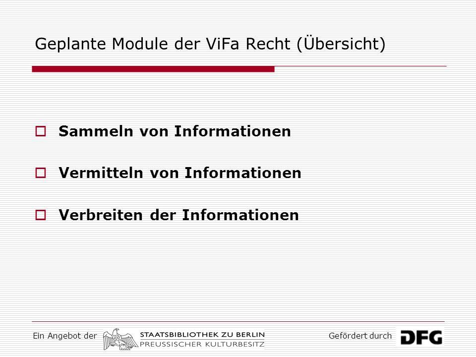 Geplante Module der ViFa Recht (Übersicht)