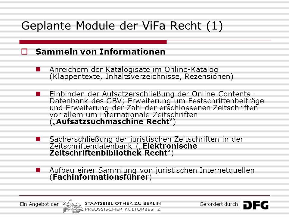 Geplante Module der ViFa Recht (1)