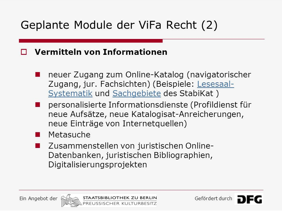 Geplante Module der ViFa Recht (2)