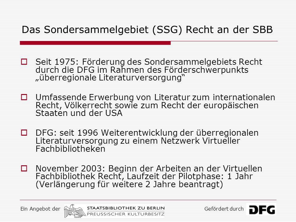 Das Sondersammelgebiet (SSG) Recht an der SBB