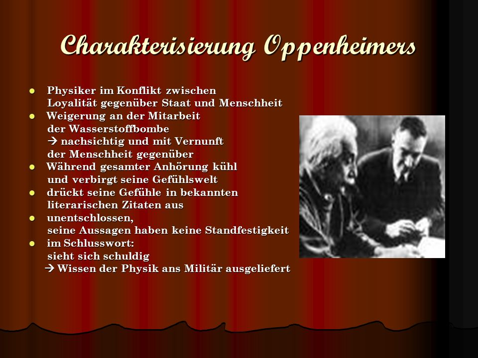 Charakterisierung Oppenheimers