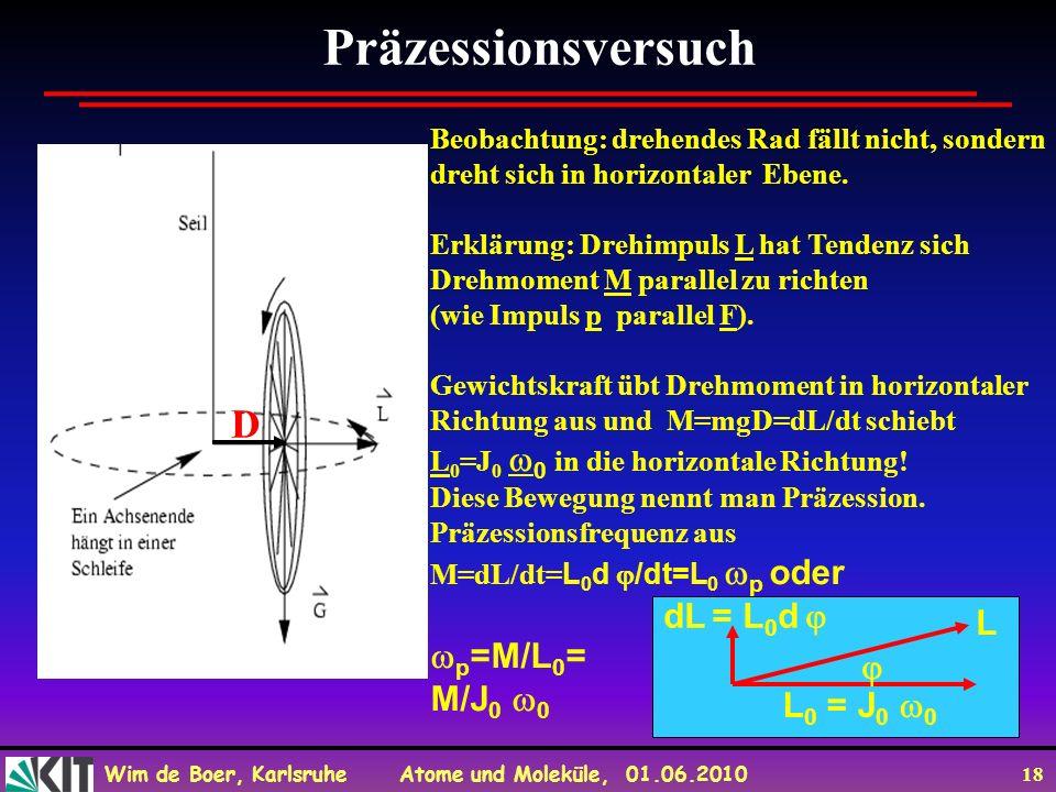 Präzessionsversuch D p=M/L0= M/J0 0 dL = L0d  L  L0 = J0 0
