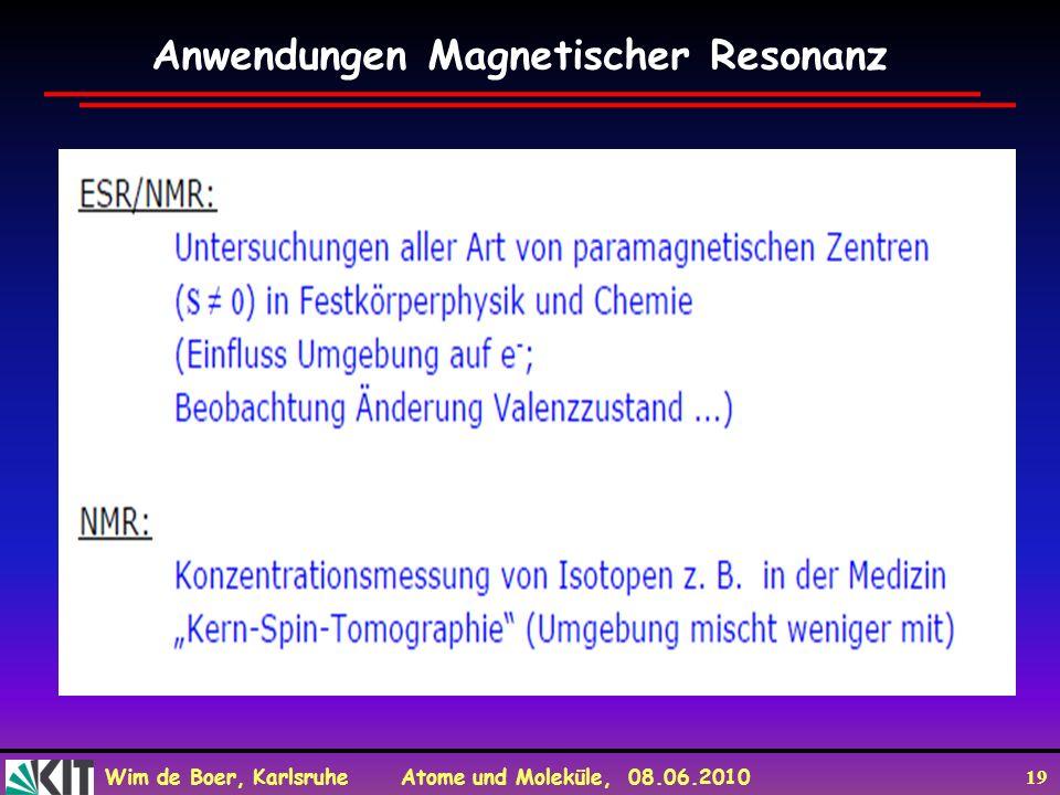 Anwendungen Magnetischer Resonanz