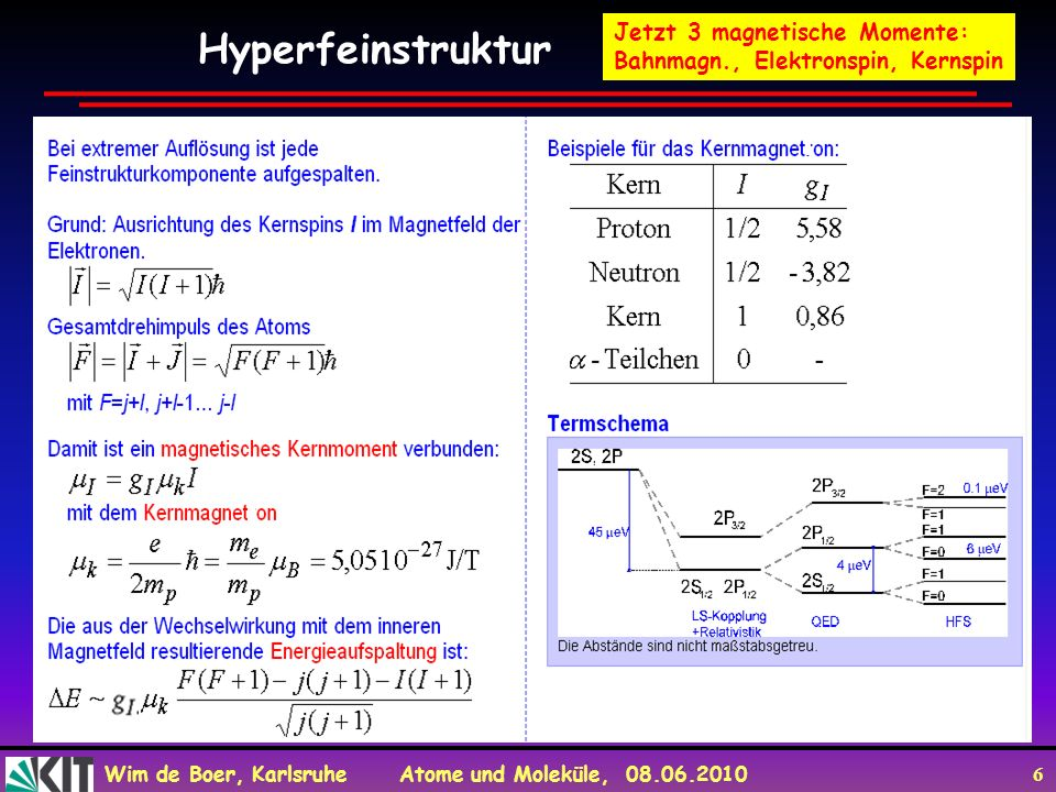 Hyperfeinstruktur Jetzt 3 magnetische Momente: