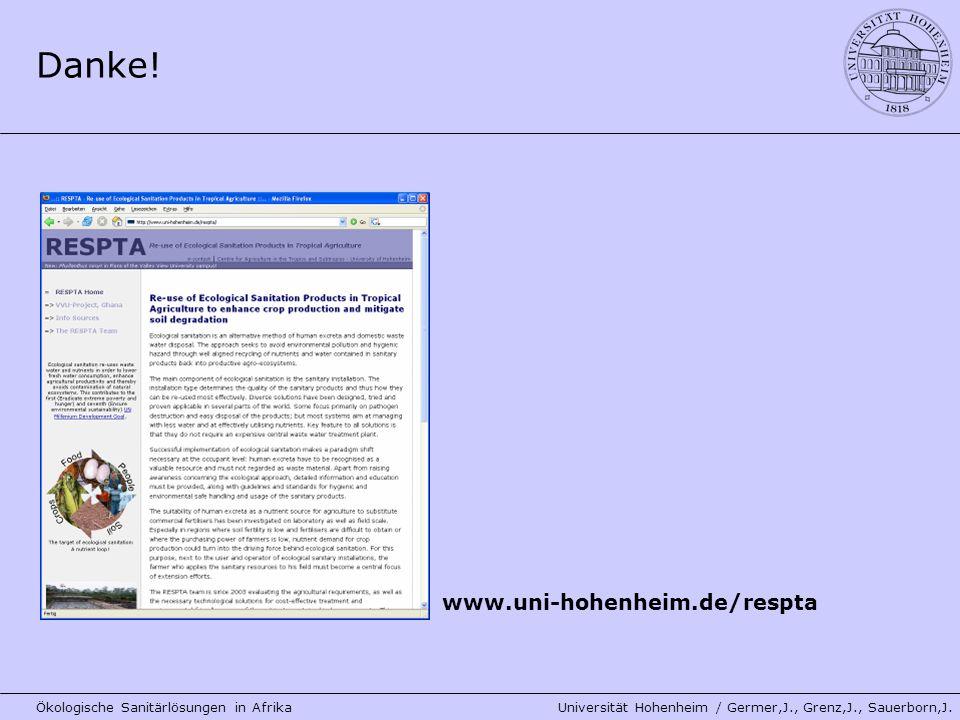 Danke! www.uni-hohenheim.de/respta