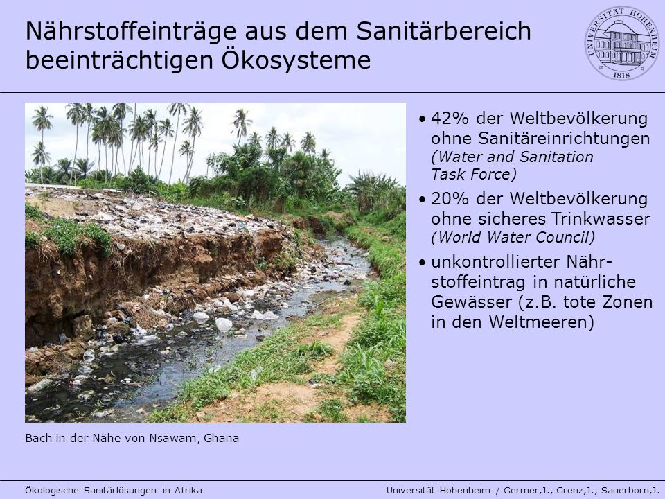 Nährstoffeinträge aus dem Sanitärbereich beeinträchtigen Ökosysteme