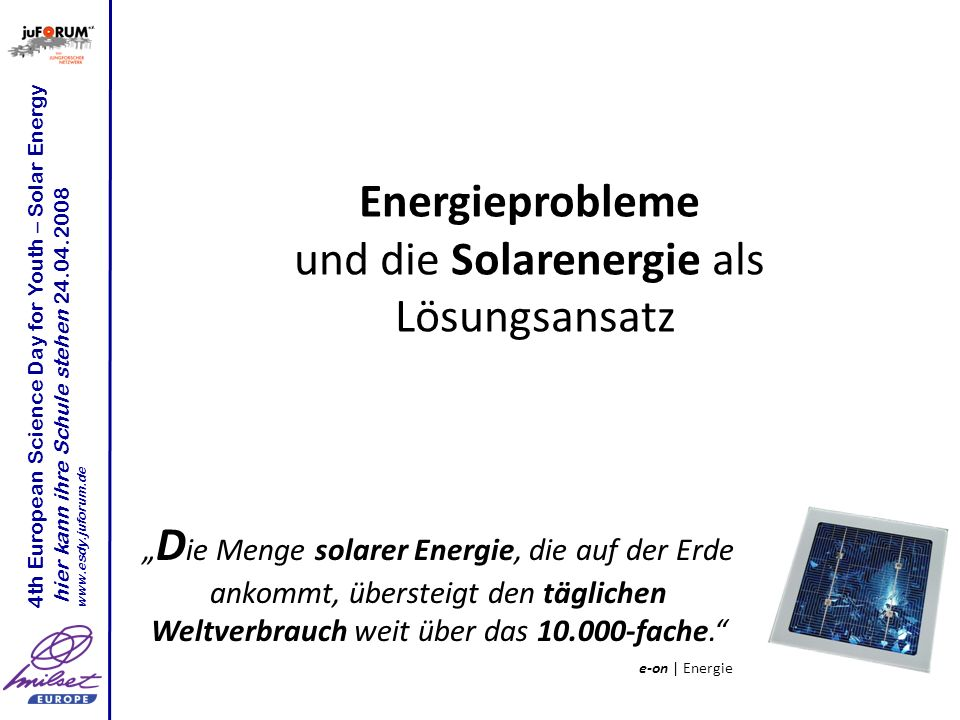 und die Solarenergie als
