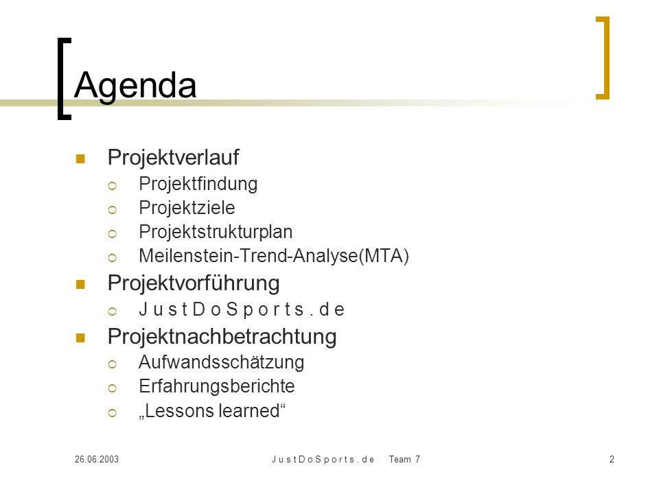 Agenda Projektverlauf Projektvorführung Projektnachbetrachtung