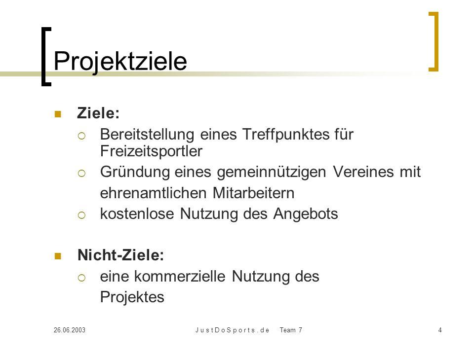 Projektziele Ziele: Bereitstellung eines Treffpunktes für Freizeitsportler. Gründung eines gemeinnützigen Vereines mit.