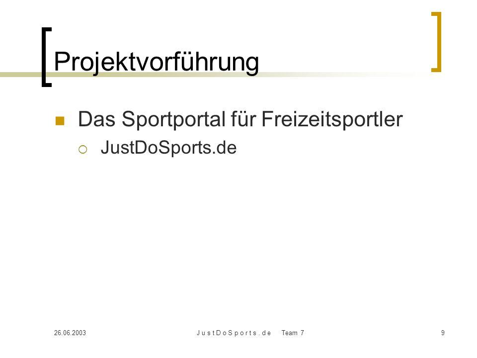 Projektvorführung Das Sportportal für Freizeitsportler JustDoSports.de