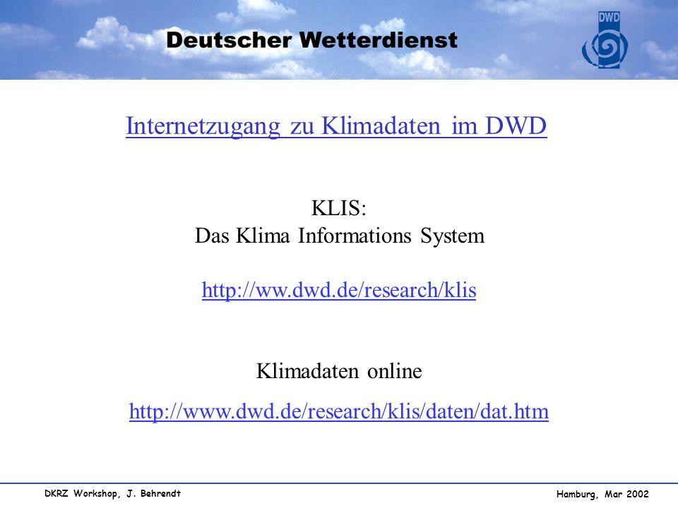 Internetzugang zu Klimadaten im DWD
