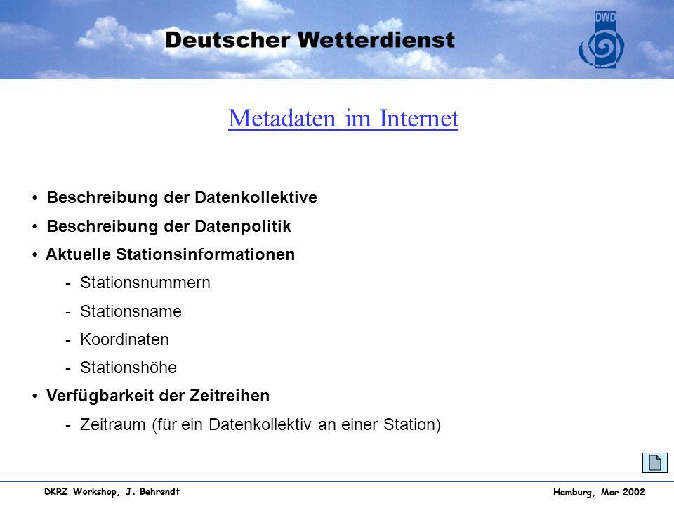 Metadaten im Internet Beschreibung der Datenkollektive