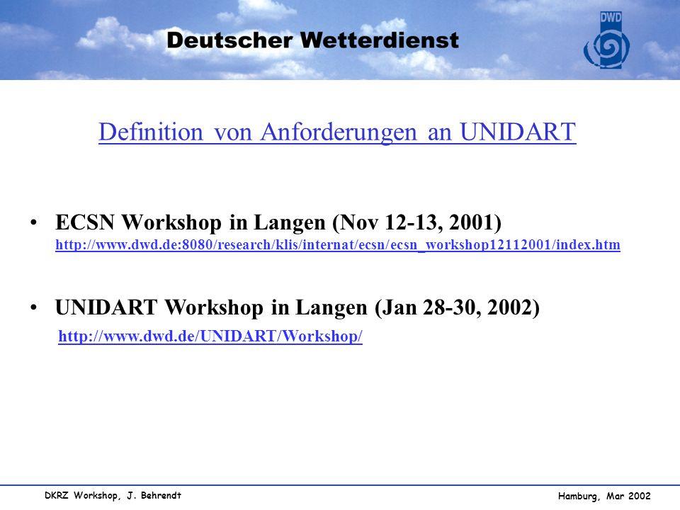 Definition von Anforderungen an UNIDART