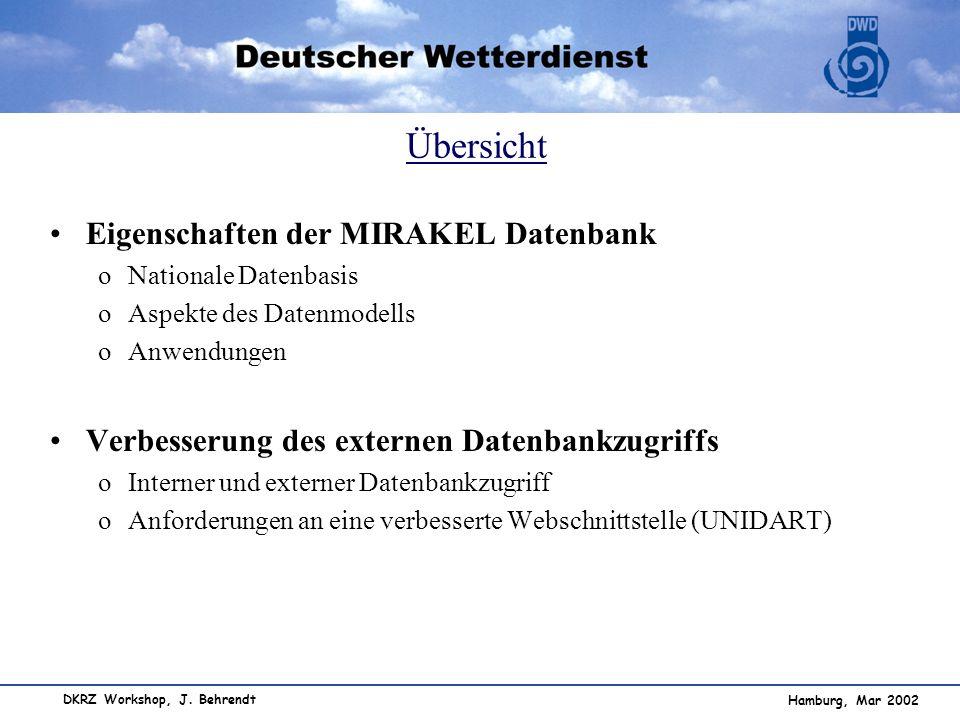 Übersicht Eigenschaften der MIRAKEL Datenbank