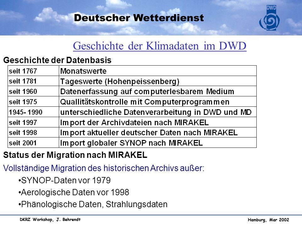 Geschichte der Klimadaten im DWD