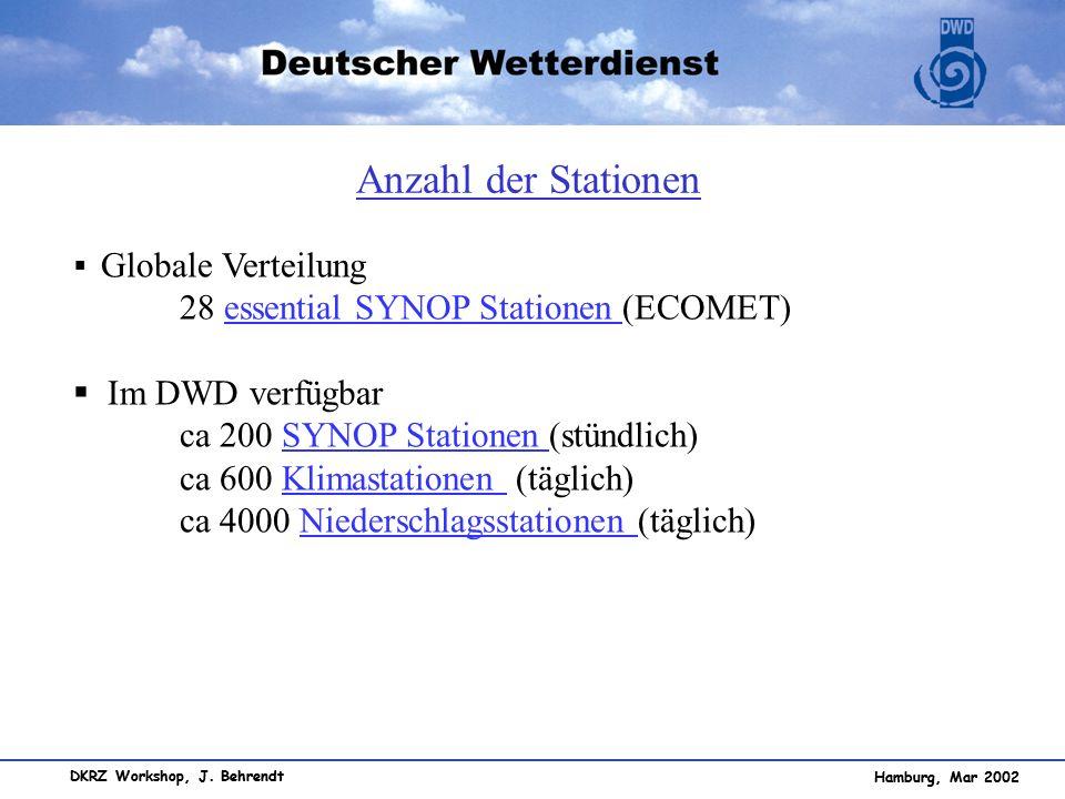 Anzahl der Stationen 28 essential SYNOP Stationen (ECOMET)