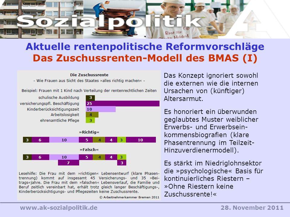 Aktuelle rentenpolitische Reformvorschläge Das Zuschussrenten-Modell des BMAS (I)